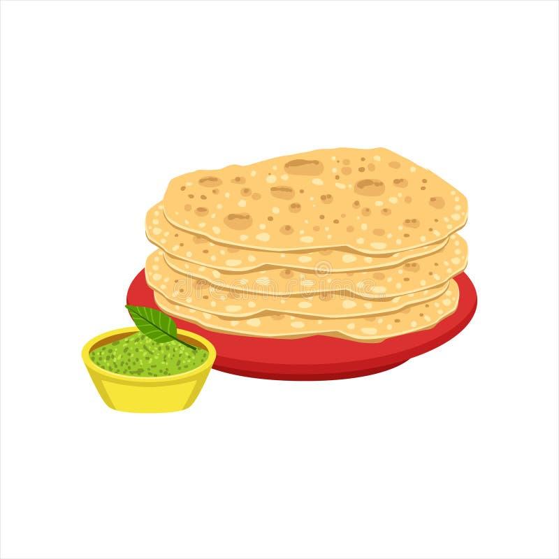 Stapel Tortilla-Brot-des traditionellen mexikanischen Küche-Teller-Nahrungsmittels von der Café-Menü-Vektor-Illustration stock abbildung