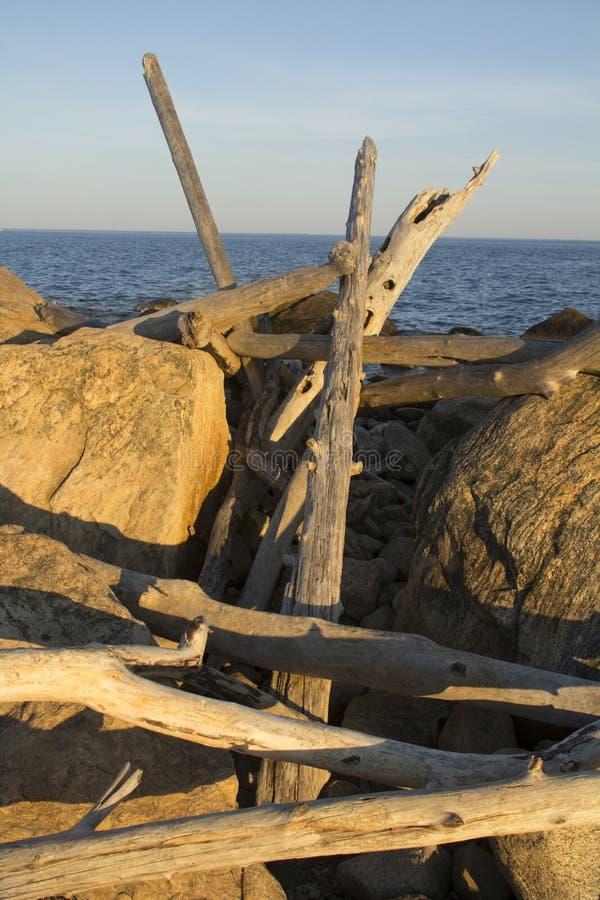 Stapel Treibholz unter Felsen von Hammonasset-Strand, Connecticut stockbild