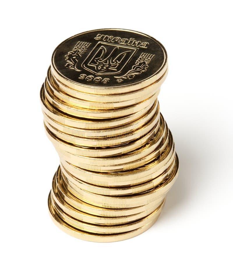 Stapel ukrainische Münzen lizenzfreie stockfotografie