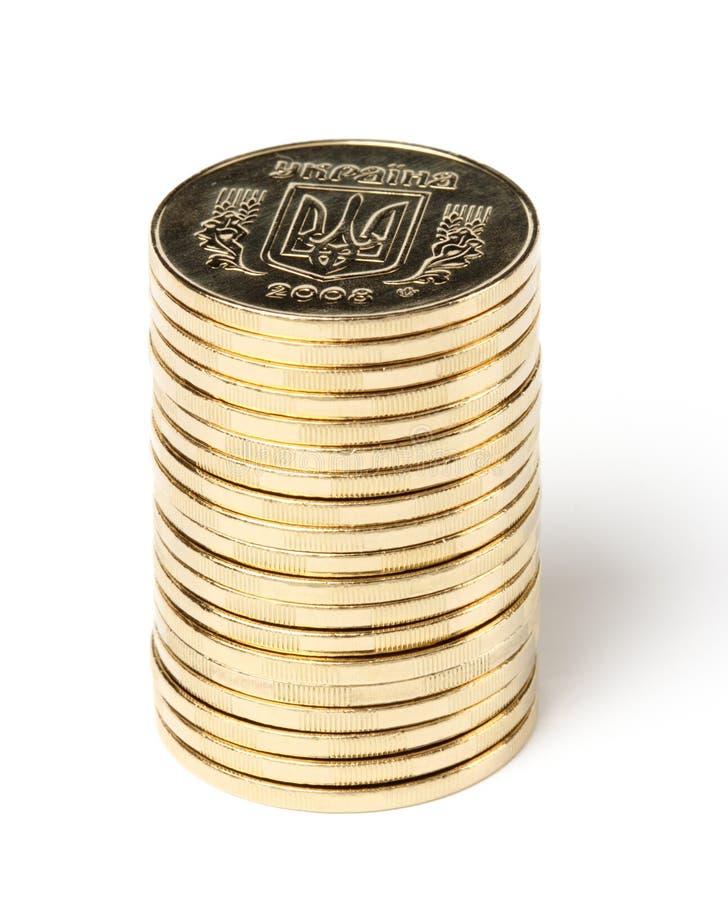 Stapel ukrainische Münzen lizenzfreie stockfotos