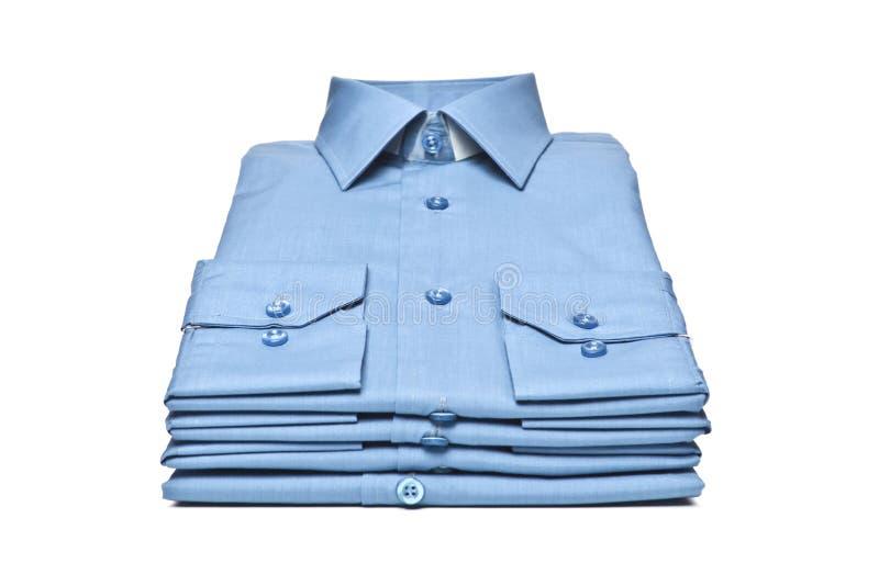 Stapel van blauw overhemd royalty-vrije stock foto's