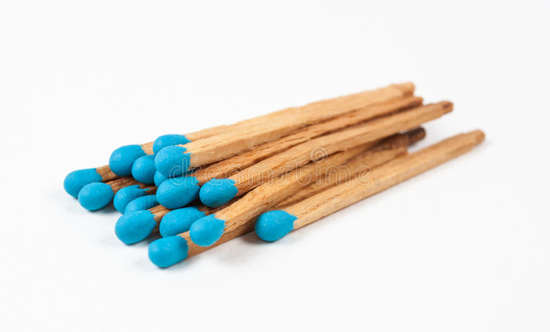 Stapel van Blauwe Matchsticks royalty-vrije stock fotografie