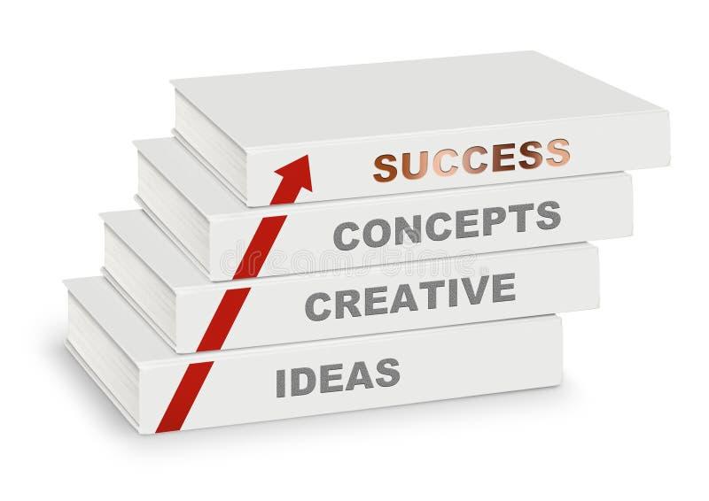 Stapel van boeken behandeld die concept, creatief, idee, succes en pijl, op wit wordt geïsoleerd vector illustratie