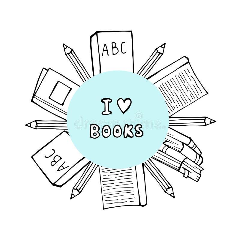 Stapel van boeken en koffie of theekop met hartsymbolen Ik houd van lezend concept voor bibliotheken, boekhandels, festivallen stock illustratie
