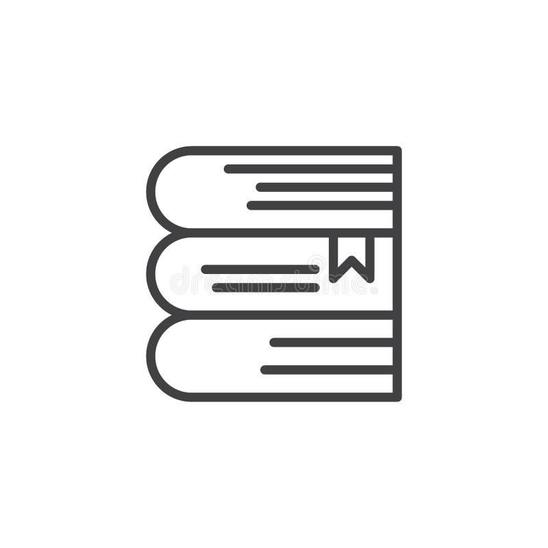 Stapel van boeken met het pictogram van het referentieoverzicht stock illustratie