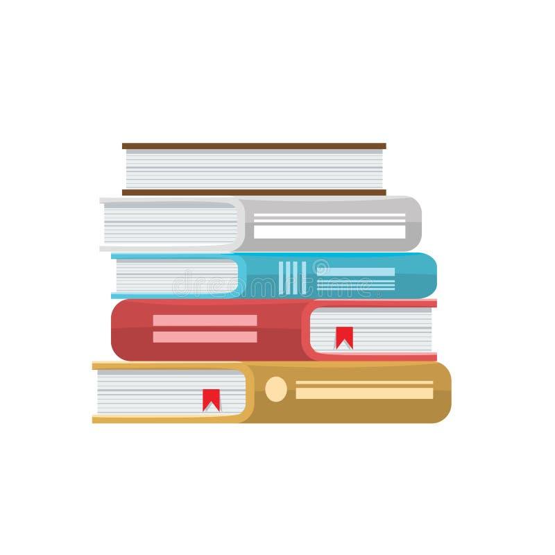 Stapel van boeken vectorillustratie Pictogramstapel boeken met stevige kleur en vlakke stijl vector illustratie