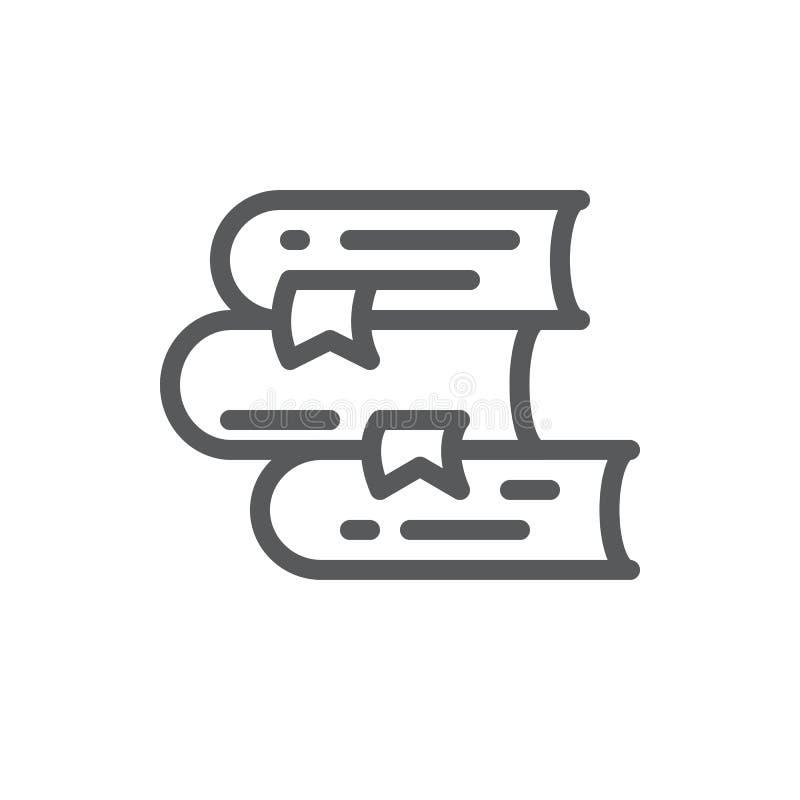 Stapel van boeken vectorpictogram met editable slag - pixel perfecte illustratie die van stapel van handboeken met hardcover ligg royalty-vrije illustratie