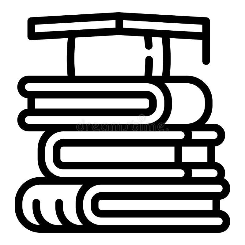 Stapel van boekenpictogram, overzichtsstijl royalty-vrije illustratie