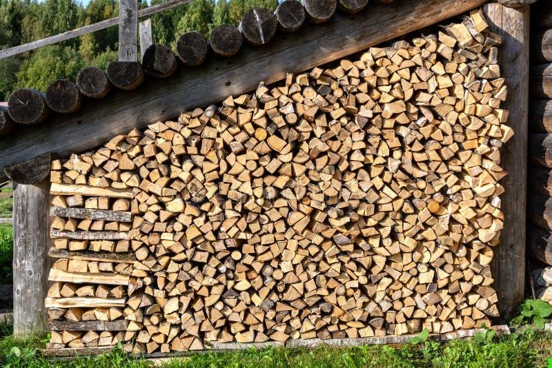 Stapel van brandhout bij de muur van het huis royalty-vrije stock afbeelding