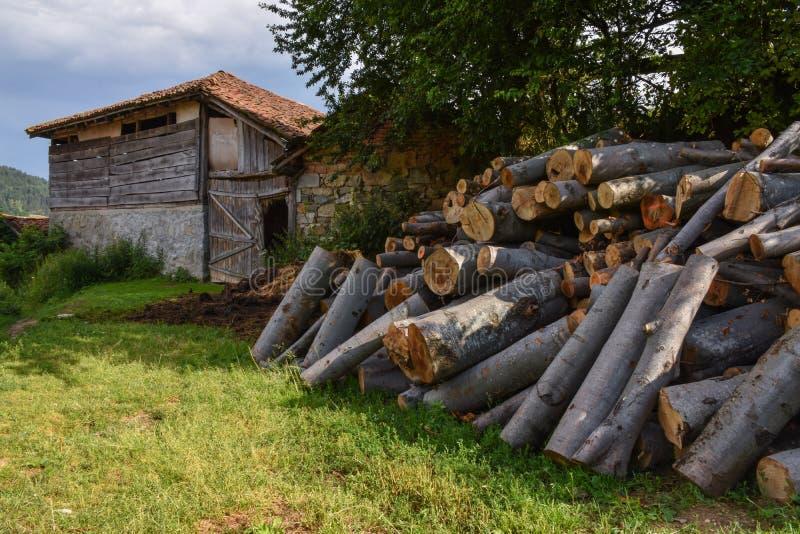 Stapel van brandhout naast een keet stock fotografie
