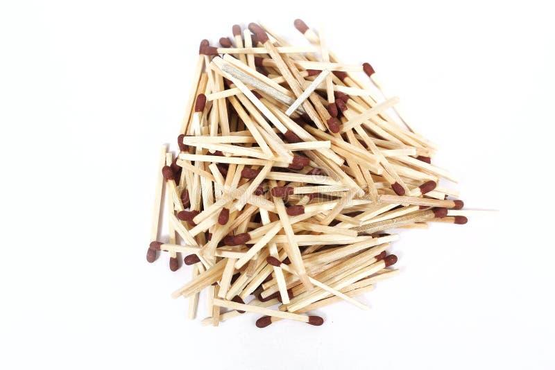 Stapel van bruine houten matchsticks royalty-vrije stock afbeeldingen