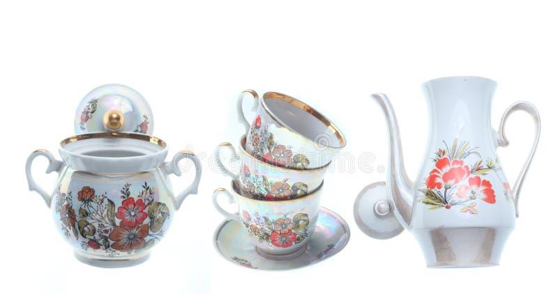 Stapel van ceramische retro koppen, theepotten, suikerkom royalty-vrije stock afbeeldingen