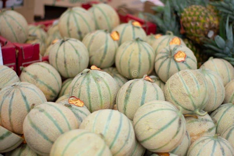 Stapel van Charentais-Meloenen in markt royalty-vrije stock foto's