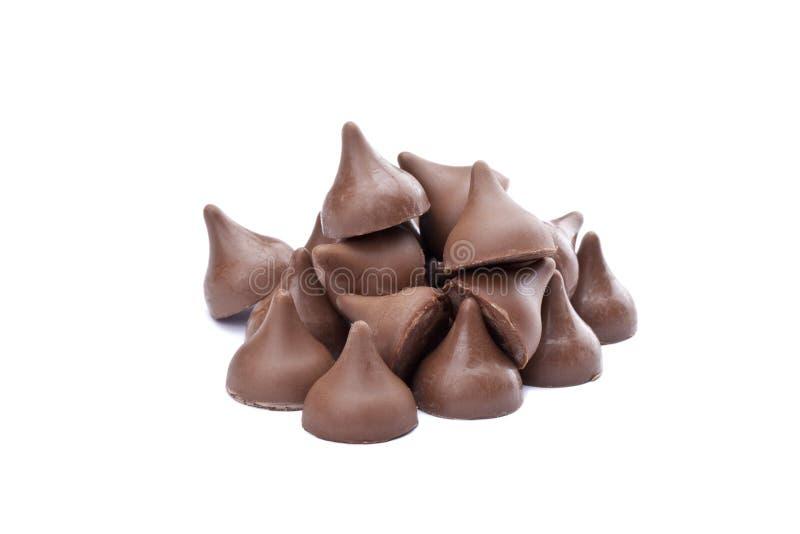 Stapel van chocoladeschilfers royalty-vrije stock foto's
