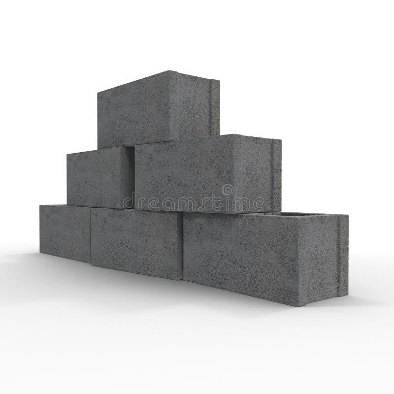 Stapel van Cinder Block Bricks op wit wordt geïsoleerd dat 3D Illustratie stock illustratie