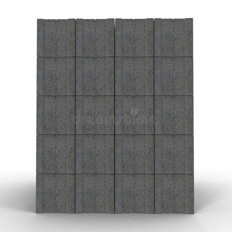 Stapel van Cinder Block Bricks op wit wordt geïsoleerd dat 3D Illustratie royalty-vrije illustratie