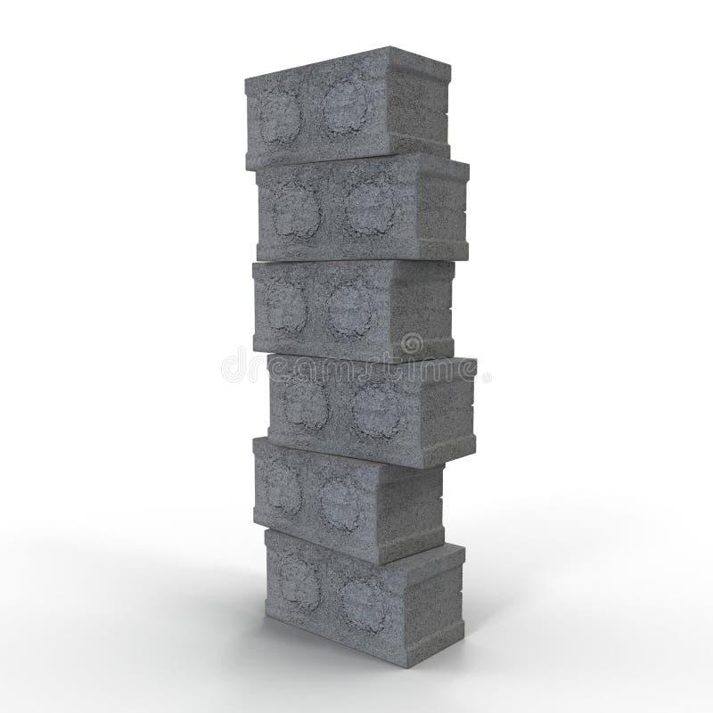 Stapel van Cinder Block Bricks op wit wordt geïsoleerd dat 3D Illustratie vector illustratie