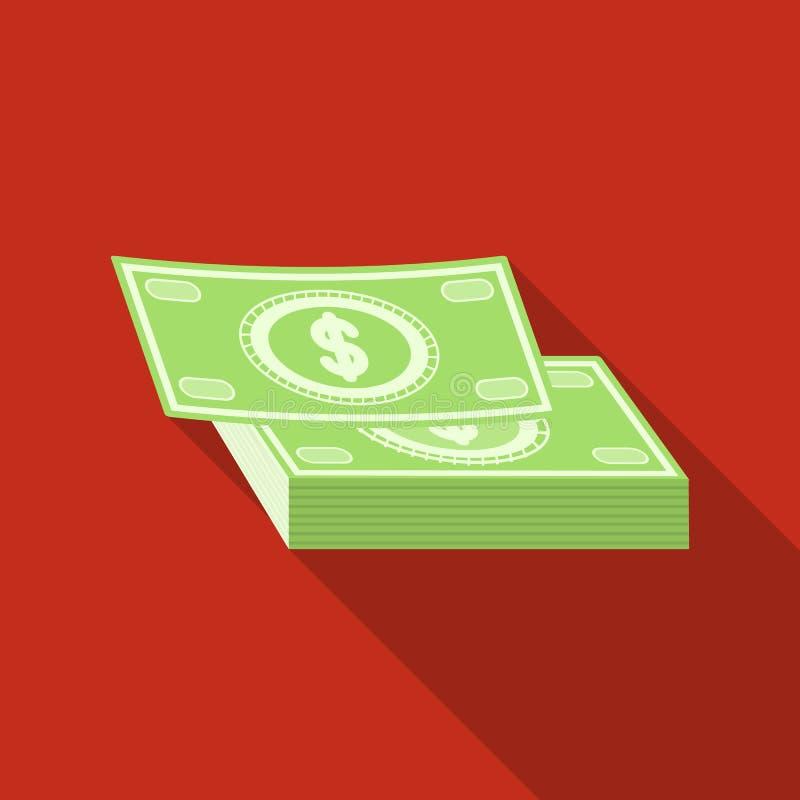 Stapel van contant geldpictogram in vlakke stijl op witte achtergrond Rust en reis de vectorillustratie van de symboolvoorraad stock illustratie