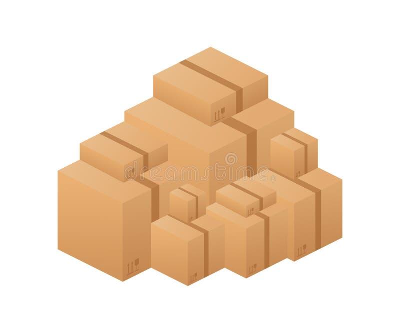 Stapel van de gestapelde verzegelde dozen van het goederenkarton Vector voorraadillustratie royalty-vrije illustratie