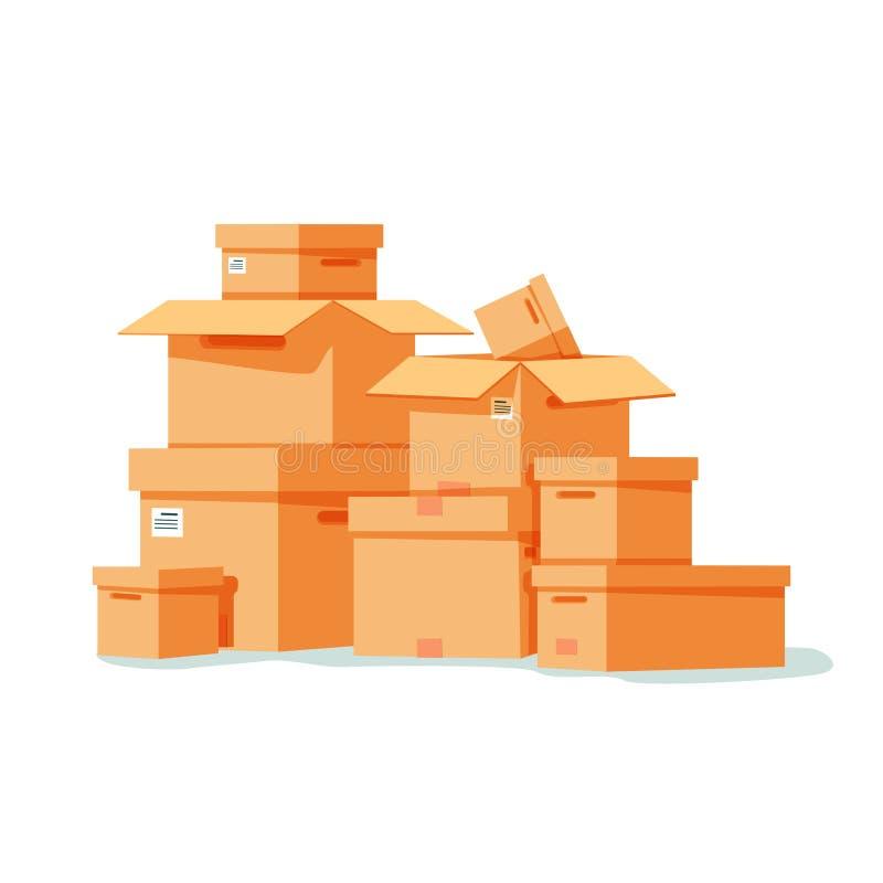 Stapel van de gestapelde verzegelde dozen van het goederenkarton Vectorillustratie in vlakke stijl royalty-vrije illustratie