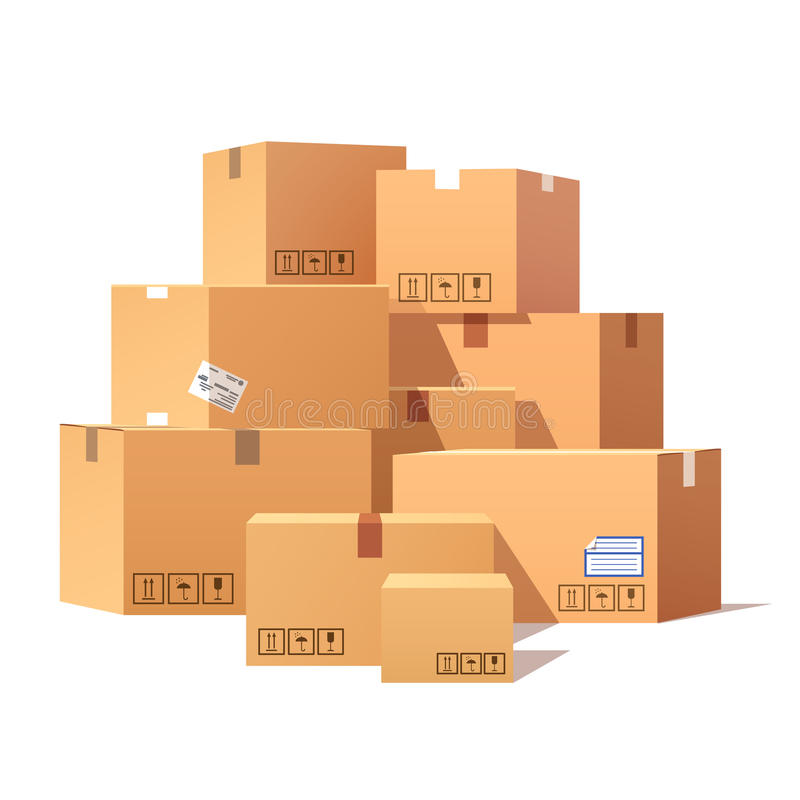 Stapel van de gestapelde verzegelde dozen van het goederenkarton vector illustratie