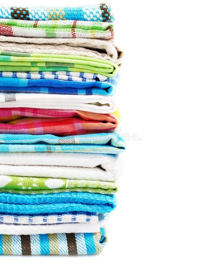 Stapel van de handdoeken van de linnenkeuken stock afbeelding