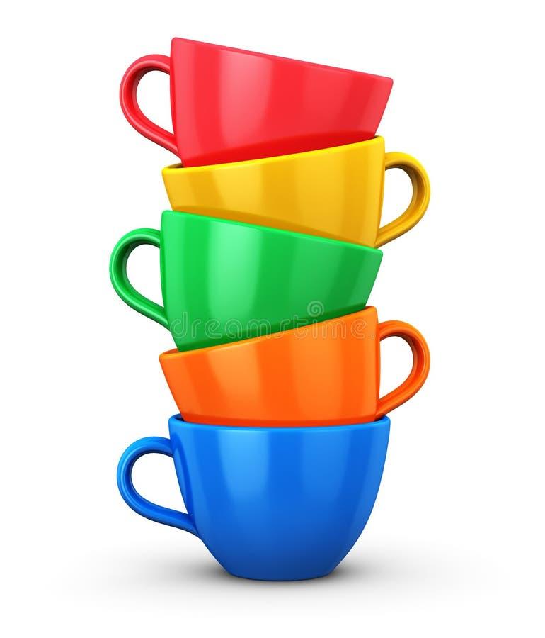 Stapel van de koppen van de kleurenkoffie royalty-vrije illustratie