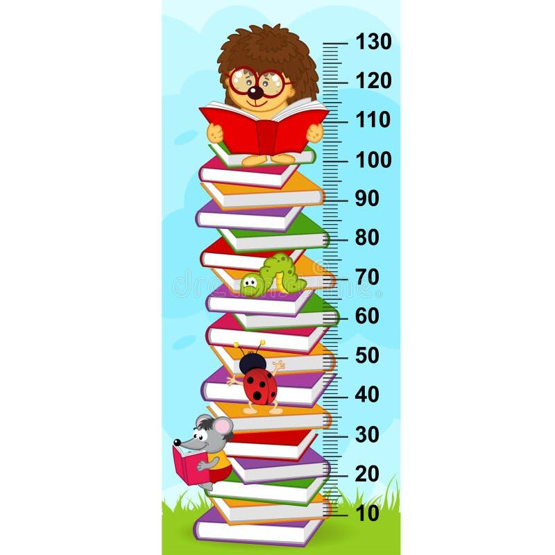 Stapel van de maatregel van de boekenhoogte royalty-vrije illustratie