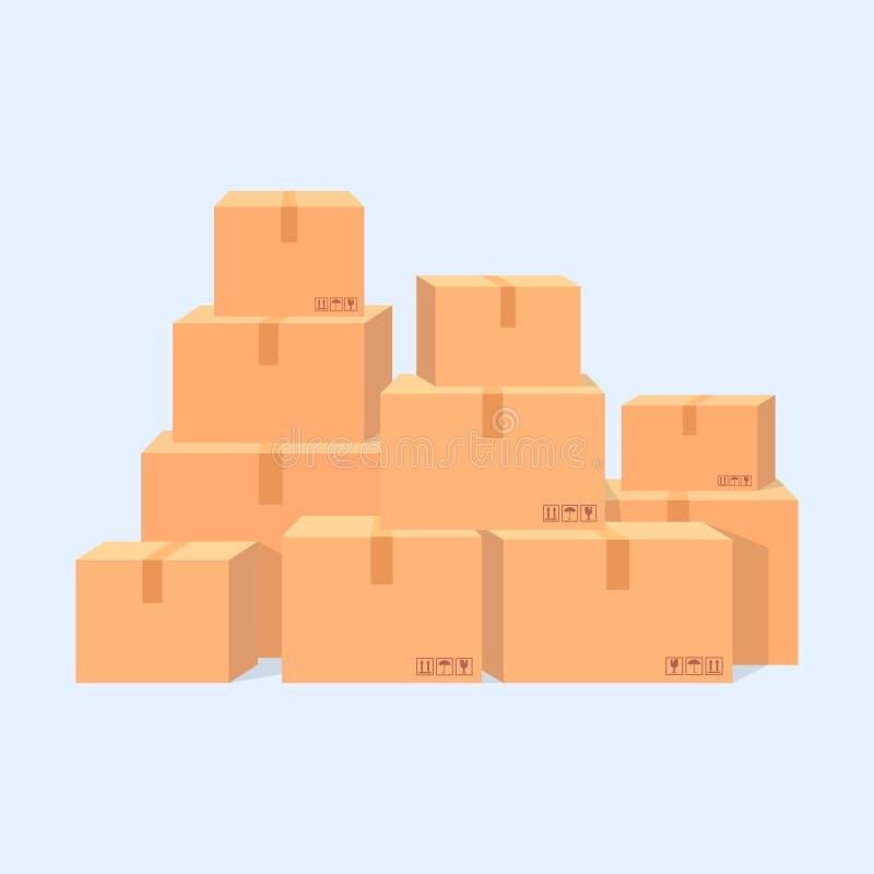 Stapel van de vectorillustratie van kartondozen stock illustratie