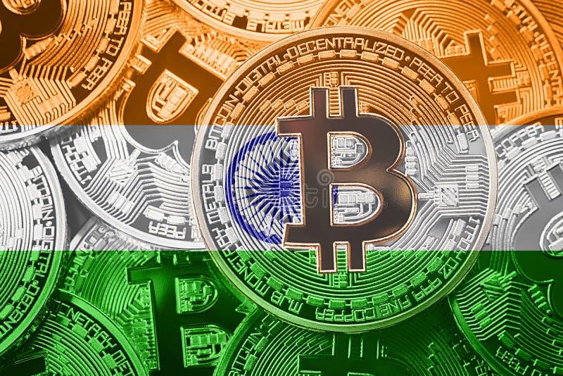 Stapel van de vlag van Bitcoin India Het concept van Bitcoincryptocurrencies B royalty-vrije stock foto's