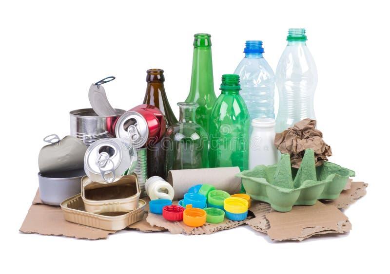 Stapel van divers die vuilnis op recycling wordt voorbereid royalty-vrije stock foto