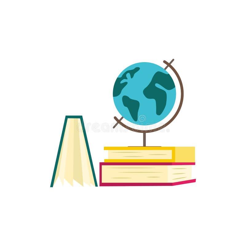 Stapel van document boeken met kleurrijk hardcover en bolgebiedmodel van aarde vector illustratie