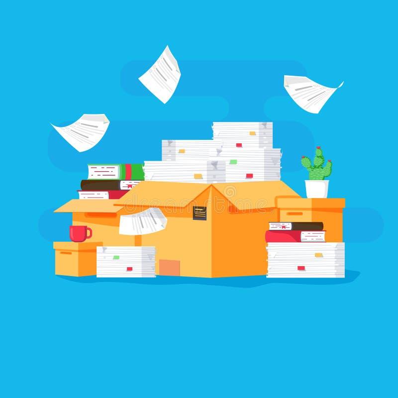 Stapel van document documenten en dossieromslagen Kartondozen Bureaucratie, administratie, bureau Vector illustratie stock illustratie
