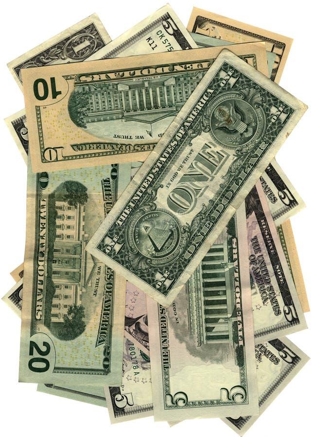 Stapel van dollars die op wit, besparingenrijkdom worden geïsoleerdi royalty-vrije stock afbeeldingen