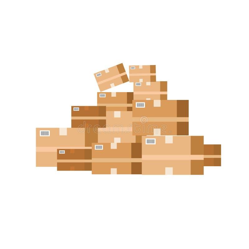 Stapel van Doos Goed karton Vlakke vectorillustratie vector illustratie