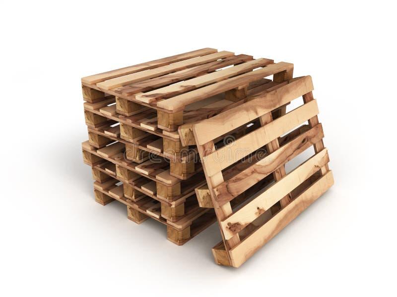 Stapel van drie houten pallets Één pallet dichtbij op wit stock afbeeldingen