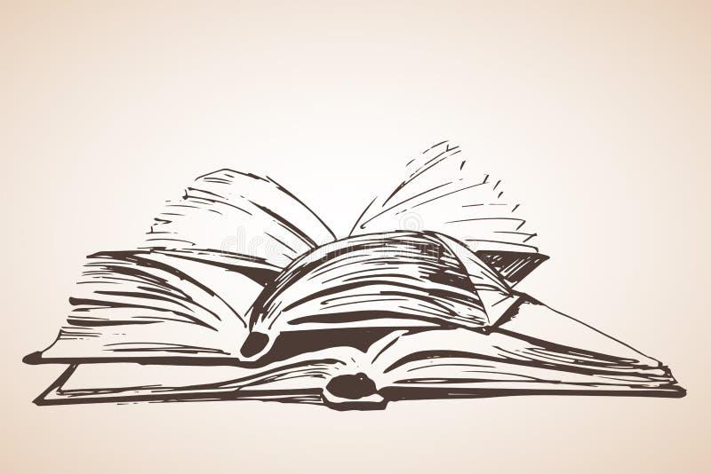 Stapel van drie open boeken vector illustratie