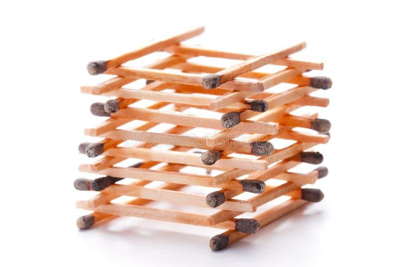 Stapel van gebrande gelijkestokken stock afbeelding