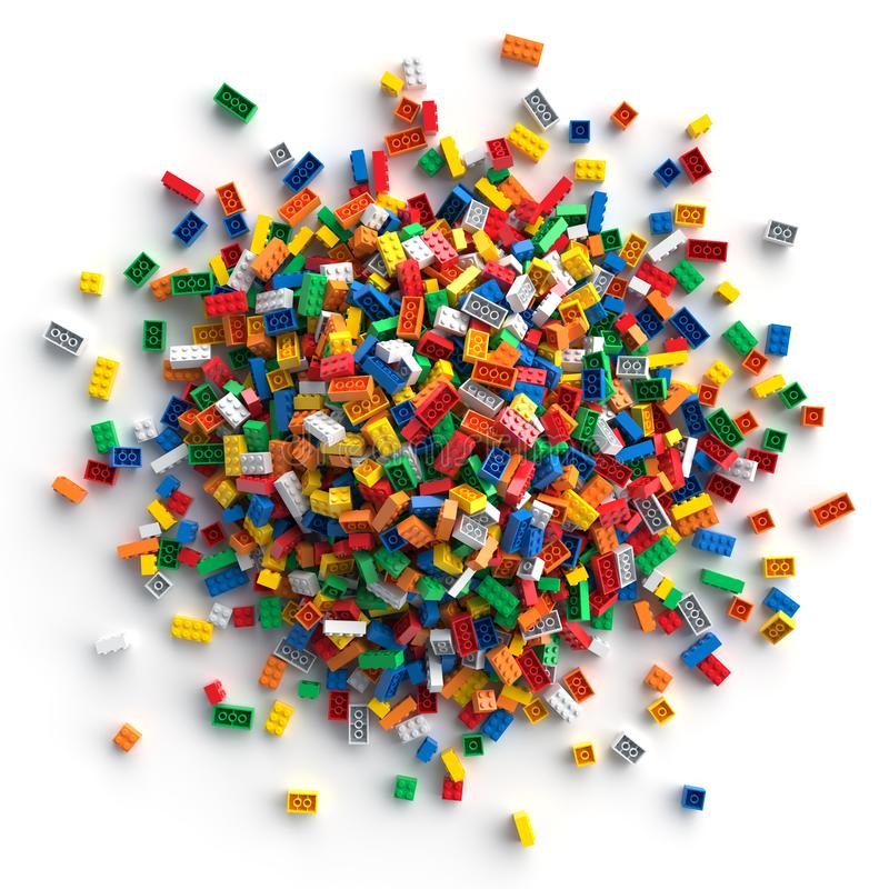 Stapel van gekleurde die stuk speelgoed bakstenen op witte achtergrond worden geïsoleerd stock foto