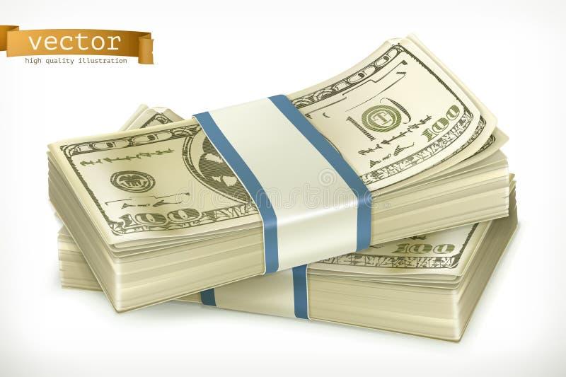 Stapel van geld Het pictogram van toestellen vector illustratie