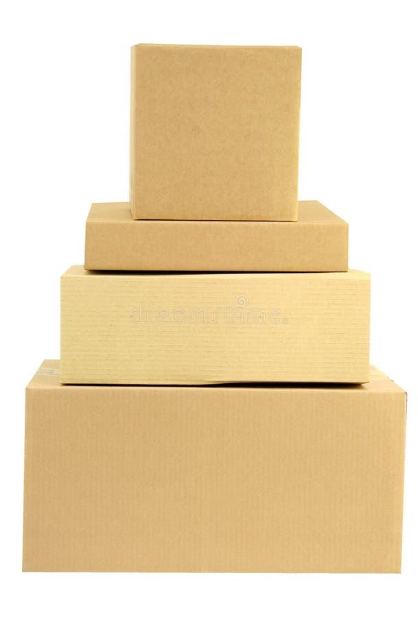 Stapel van gestapelde dozen stock foto