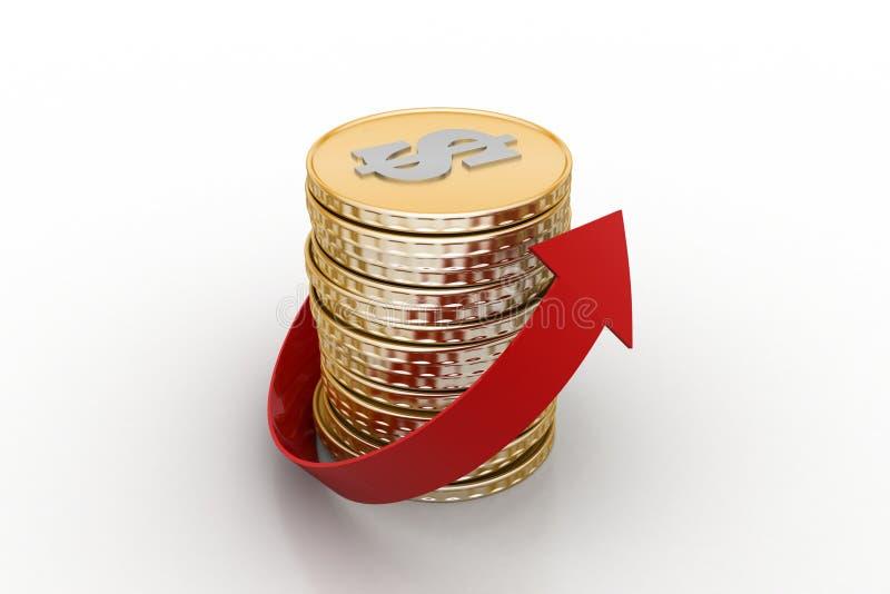 Stapel van gouden muntstuk met pijl stock illustratie