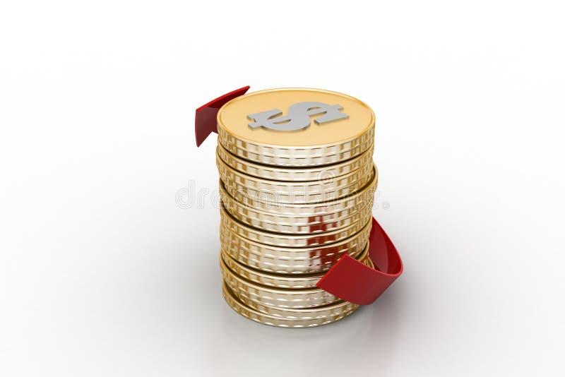 Stapel van gouden muntstuk met pijl vector illustratie
