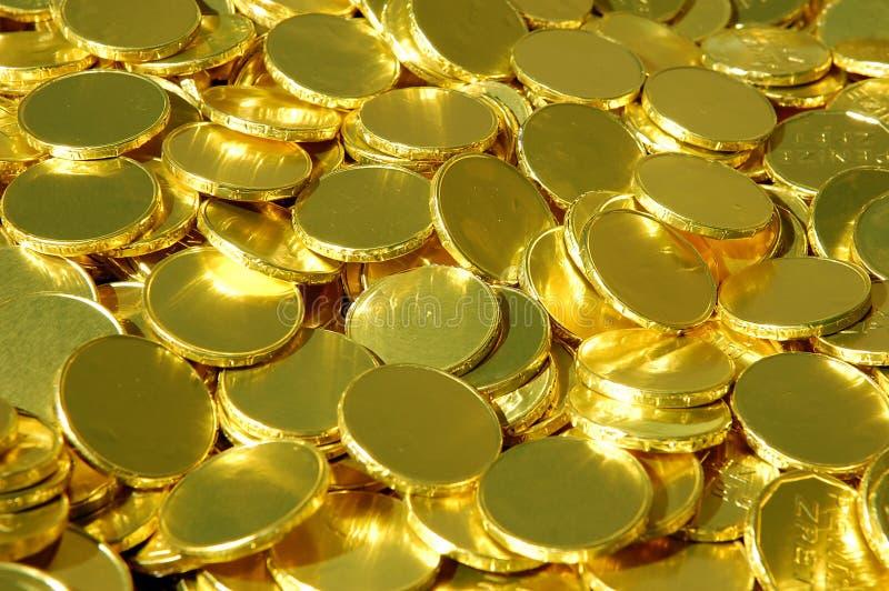 Stapel van gouden muntstukken stock fotografie