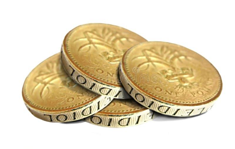 Stapel van gouden muntstukken stock foto's