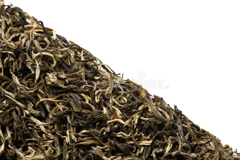 Stapel van groene die thee op witte achtergrond wordt geïsoleerd royalty-vrije stock afbeeldingen