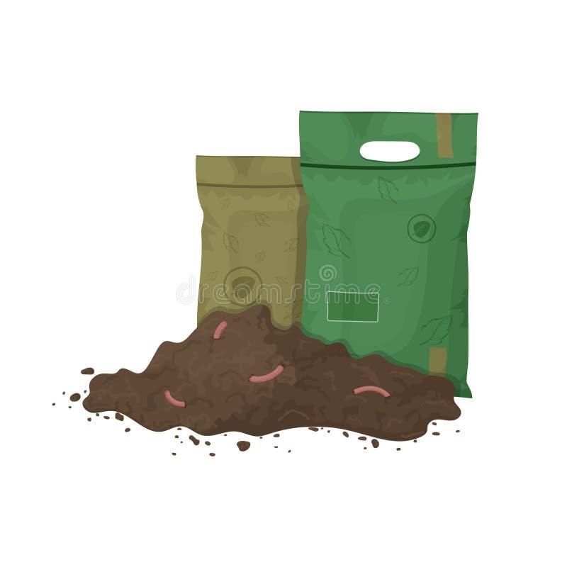 Stapel van grond met aardwormen en meststoffenpakketten Illustratie voor organische meststof, compost, landbouw Gekleurd vlak pic stock illustratie