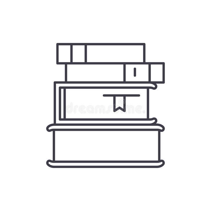 Stapel van het pictogramconcept van de boekenlijn Stapel van boeken vector lineaire illustratie, symbool, teken stock illustratie
