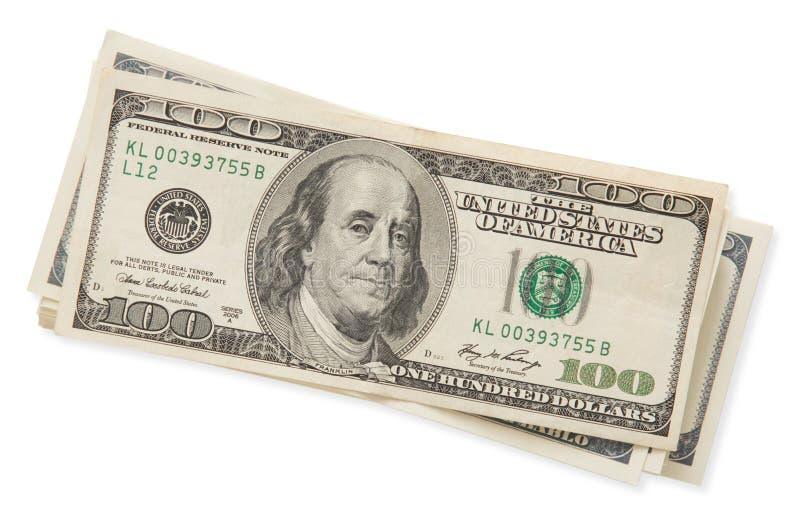 Stapel van honderd die dollarsrekeningen op witte achtergrond worden geïsoleerd royalty-vrije stock fotografie