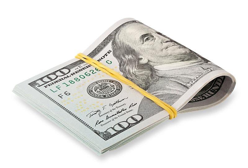Stapel van honderd-dollar rekeningen verminderd elastiekje royalty-vrije stock afbeeldingen